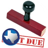 texas map icon and a past-due stamp used by a bill collection agency