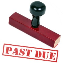 a past-due stamp used by a bill collection agency